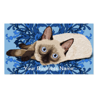 Siamese Cat With Floral Pattern Business Card Templates