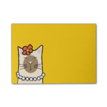 Siamese Cat with Flower & Pearls Post-it® Notes