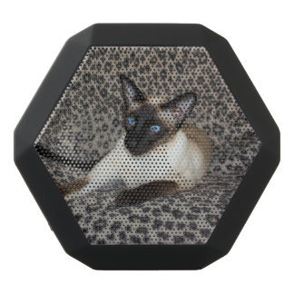 Siamese Cat with Leopard Print Wild Animal Spots Black Bluetooth Speaker