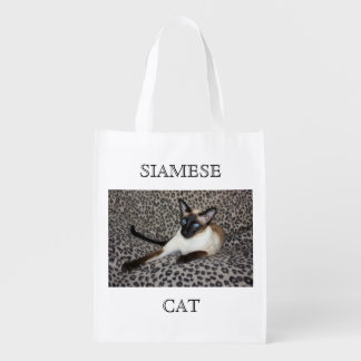 Siamese Cat with Leopard Print Wild Animal Spots Grocery Bags