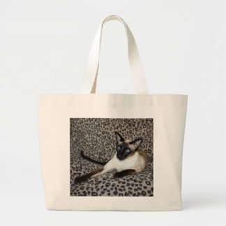 Siamese Cat with Leopard Print Wild Animal Spots Large Tote Bag