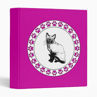 Siamese Cat with Pawprints 3 Ring Binder