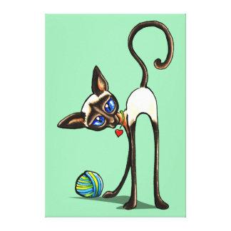 Siamese Cat Yarn Thief Ink Pencil Drawing Canvas Print