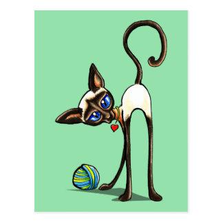 Siamese Cat Yarn Thief Post Card