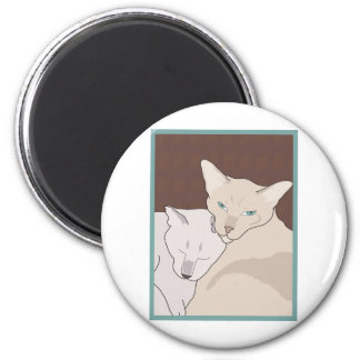 Siamese Cats 2 Inch Round Magnet