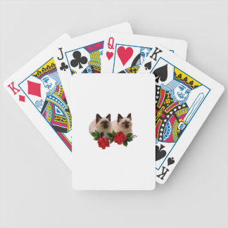 Siamese Cats and Roses Playing Cards