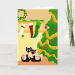 """Siamese Cats Christmas Holiday Card<br><div class=""""desc"""">Get in the holiday spirit this winter with these great Siamese cat Christmas cards!</div>"""