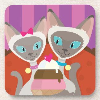 Siamese Cats Ice Cream Beverage Coaster