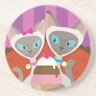 Siamese Cats Ice Cream Drink Coaster
