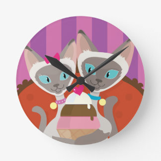 Siamese Cats Ice Cream Round Clock