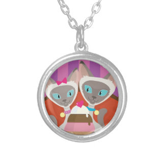 Siamese Cats Ice Cream Silver Plated Necklace