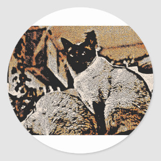 Siamese Cats of Yore Classic Round Sticker