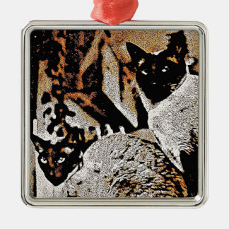 Siamese Cats of Yore Metal Ornament