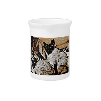 Siamese Cats of Yore Beverage Pitchers