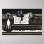 Siamese Cats Piano Music Poster
