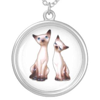 Siamese cats round pendant necklace
