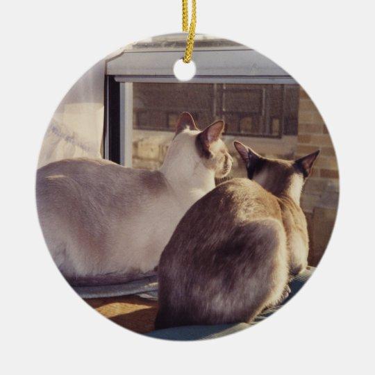 Siamese Cats Two at Window (2) Ceramic Ornament