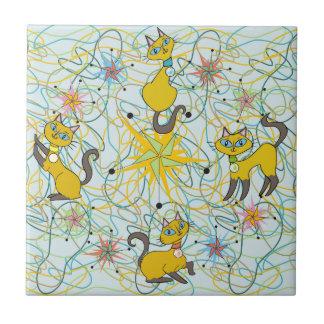 Siamese Cats with Pinwheel Starbursts Ceramic Tile