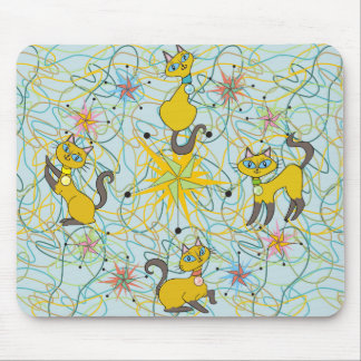 Siamese Cats with Pinwheel Starbursts Mouse Pad
