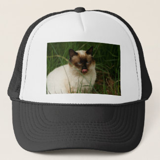 Siamese Feral Cat With Tongue Out Trucker Hat