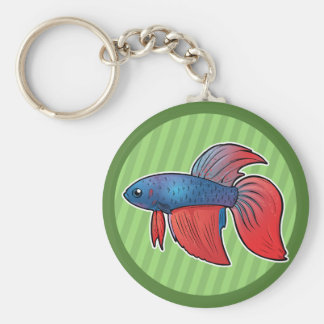 Siamese Fighting Fish Basic Round Button Keychain