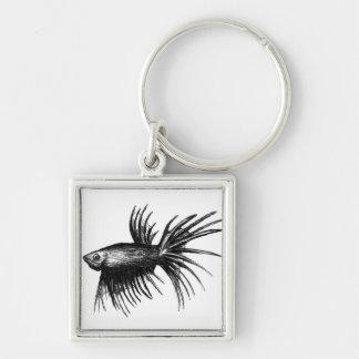 Siamese fighting fish- Betta splendens Silver-Colored Square Keychain