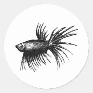 Siamese fighting fish- Betta splendens Round Sticker