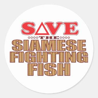 Siamese Fighting Fish Save Classic Round Sticker