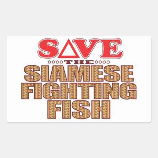 Siamese Fighting Fish Save Rectangular Sticker