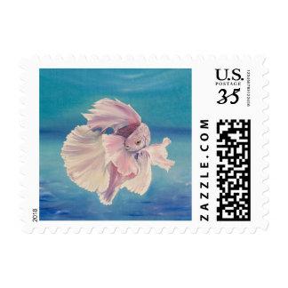 Siamese fighting fish stamp