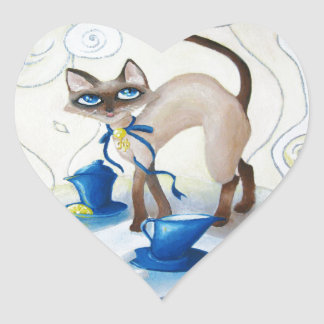Siamese - fine art heart sticker