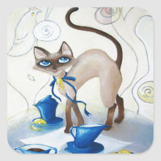 Siamese - fine art square sticker