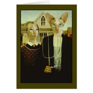 Siamese Gothic Greeting Cards