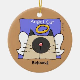 Siamese Keepsake Cat Angel Personalize Double-Sided Ceramic Round Christmas Ornament