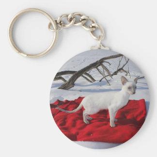 Siamese Kitten - Lilac Point in Snow Key Chain