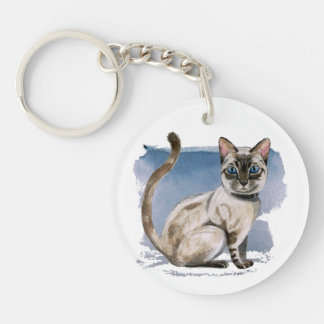 Siamese Kitten Watercolor Painting Keychain