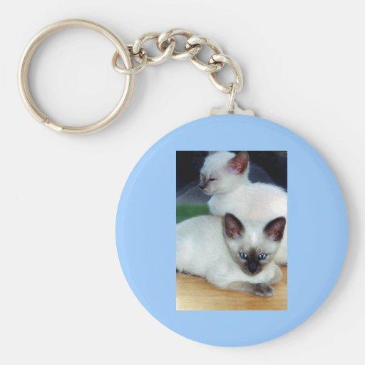 Siamese Kittens Keychain