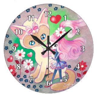 Siamese Kitty Love Fun Large Clock