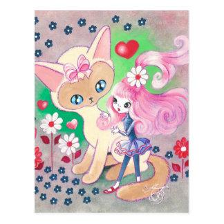 Siamese Kitty Love Fun Postcard