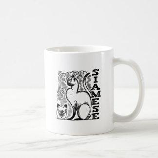 Siamese Line Drawing Classic White Coffee Mug
