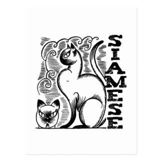 Siamese Line Drawing Postcard