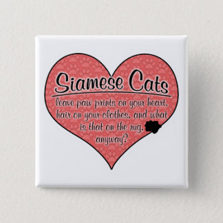 Siamese Paw Prints Cat Humor Pinback Button