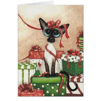 Siamese Red Ribbon Greeting Card