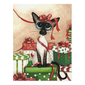 Siamese Red Ribbon Postcard