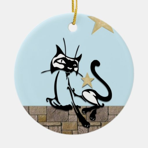 Siamese Royalty Double-Sided Ceramic Round Christmas Ornament