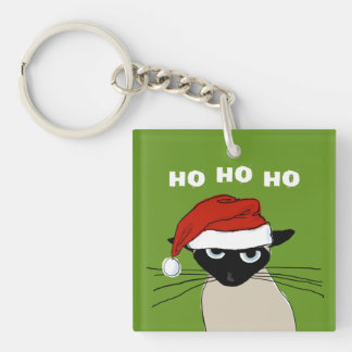 Siamese Santa Cat - Ho Ho Ho Single-Sided Square Acrylic Keychain