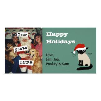 Siamese Santa Clause Cute Cat Christmas Card