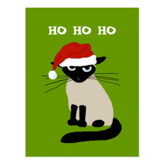 Siamese Santa Clause - Funny Cat Christmas Postcard