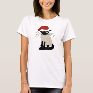 Siamese Santa Clause - Funny Christmas Cat T-Shirt