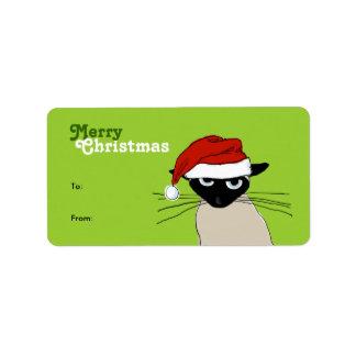 Siamese Santa Claws - Funny Christmas Cat Label